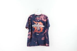 Majestic Mens Large Detroit Tigers Old English D Spell Out Acid Wash T-Shirt