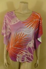 Cache Multi-color Decorate Front Batwing Sleeve Top Blouse Women Size XS