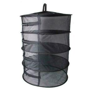 4 Layers Collapsible Herb Plant Hanging Dry Net Dryer Zipper Dry Rack Black 60cm
