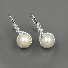 White Pearl Sterling Silver CZ Dangle Drop Earrings Cultured Freshwater 00298