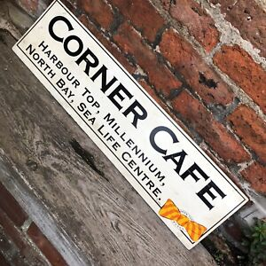 VINTAGE Bus Cafe SIGN Double Side Advertising Scarborough Bus Tour Old Transport