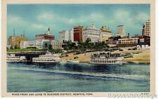River Front And Levee To Business District Memphis TN Postcard Linen VTG