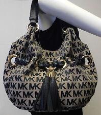 Michael Kors Signature Gray & Black Jacquard Tassel Shoulder Bag Handbag Tote