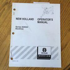 New Holland Series 920gh Backhoe Operators Manual Parts Operation Amp Maintenance