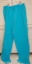 Jr Womens SOFT KNIT SLEEP PANTS Pajama Lounge TURQUOISE BLUE 100% Cotton M 7-9