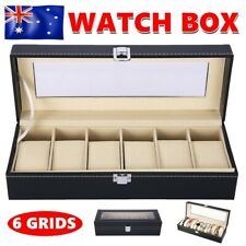 6 Grids Watch Display Box Case Jewelry Collection Leather Holder Storage Gift AU