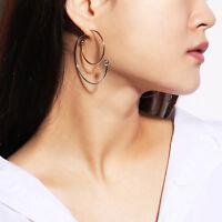 Korean Simple Silver Gold Plated Women Circle Geometric Ear Studs Earrings Gift