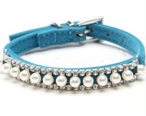 Hundehalsband mit Perlen und Strasssteinen Wildlederoptik