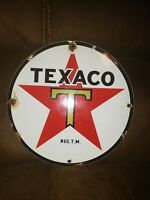 Vintage 1950s TEXACO GASOLINE AND OIL PUMP PLATE ADVERTISING PORCELAIN SIGN 9""