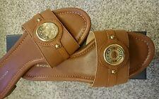 NEW Brown Leather Sandals 9 Tommy Hilfiger Flats NIB size 9M Summer Shoes Slipon