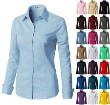 Womens Basic Long Roll Up Sleeve SLIM FIT Button Down Shirt Collared DSL01