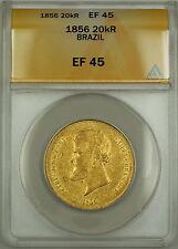 1856 Brazil 20,000 Reis Gold Coin ANACS EF-45