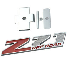 1x Grille (Small) Z71 off Emblem Badge for Gm Chevrolet Silverado Chrome Red