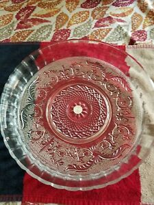 Cut Glass pie plater dinning Made In Malaysia 12x12 dish beautiful