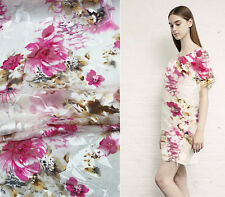 BURN-OUT SILK(75%) CHIFFON FABRIC WITH PINK FLORAL BY THE METER S168