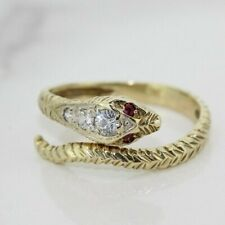 9ct Yellow Gold Ruby Snake Wrap Ring (Size M)