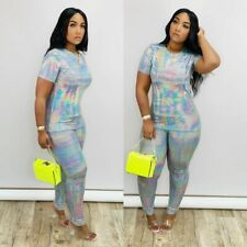 NEW Stylish Women's Short Sleeves O Neck Patchwork Bodycon Club Jumpsuit 2pcs