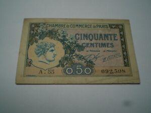 """BILLET50 CENTIMES  """"CHAMBRE DE COMMERCE """" 1920 FRANCE  TTB TRES BON ETAT"""