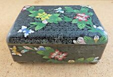 Antique Chinese Cloisonne Enamel Brass Floral Black Footed Blue Hinged Box