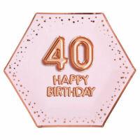 "8 x ROSE GOLD 9"" PLATES 40 HAPPY BIRTHDAY GLITZ & GLAM 40th PARTY PINK HEXAGON"