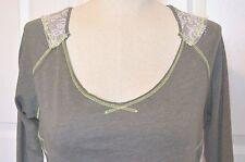 Fox Racing Gray & White Lace Long Sleeve Top Shirt Women's Size XS