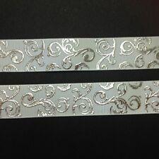 """White/Silver Foil Swirl pattern 7/8"""" Printed Grosgrain Ribbon 1m"""