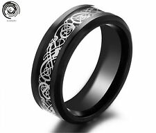 8mm Mens Jewelry Men's Silvering Celtic Dragon Stainless Steel Ring W598 Silver Black 6