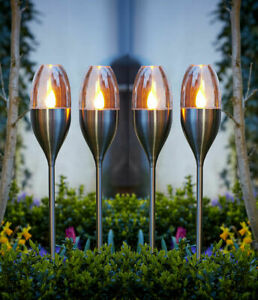Solar Powered Flame Effect LED Stake Lights Outdoor Garden Lamps Flickering
