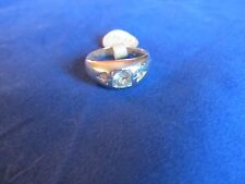 Mens Boys White Gold Plated Spinel Fashion Ring Sz 10
