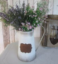 SHABBY CHIC RUSTIC VINTAGE METAL PITCHER JUG VASE – DECORATIVE – FRENCH COUNTRY