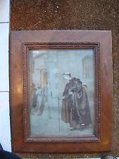 Signée P.Rouffio huile sur toile d'une mendiante en vieille ville 38 x 28,5 cm