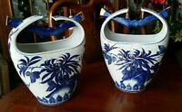 Satsuma Porcelain Water Bucket Vases Pair Marked
