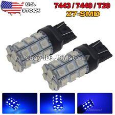 2x Blue 7443 27-SMD Car Front Parking City DRL LED Light Bulbs 7440 7444NA 992A