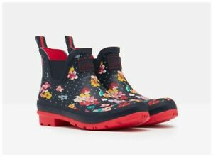 Joules Wellibob Short Height Rain Boots in Navy Polka Dot Floral Womens Sz 8 NWT