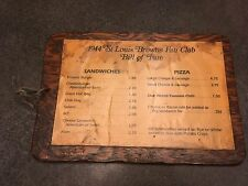 1944 St. Louis Browns Fan Club Menu Bill of Fare Wood Backing Baseball History