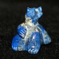 "Zuni Fetish by Hiram Peynetsa, Tiny Lapis Bear with Turquoise Eyes, 5/8"" tall"