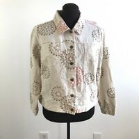 Paraphrase Womens Jacket Linen Embroidered Button Front Plus Size 1X