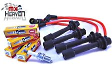 """Mazda MX5 MK1 & MK2 HT Leads 8mm Silicone Red & NGK Spark Plugs 1989>2005 """"New"""""""