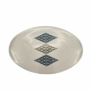 Vtg MCM Informal China By Ben Seibel Blue Diamonds Curved Edge Serving Platter
