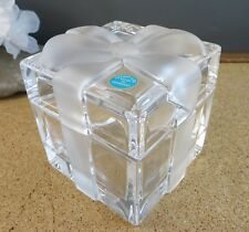 Tiffany & Co. Crystal Trinket Gift Box Glass Paperweight Frosted Ribbon Sticker