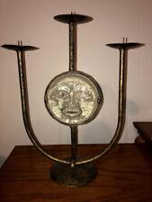 Antique Bronze Metal Glass Sun Handcrafted 3-Arm/Tier Candle Holder Candelabra