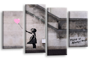 Banksy Abstract Wall Art Grey White Pink Girl Balloon Canvas Split Picture