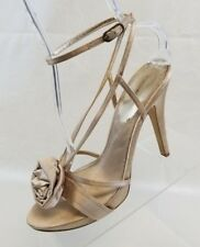 Max Studio Womens Slingback Satin Rose Open Toe Straps Heels Beige Shoes Sz 10M