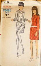 Vintage Vogue 1960's shirt dress pattern, teen sz 10 bust 30, hip 32 -complete