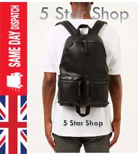 TOPMAN Leather Black Backpack Rucksack Shoulder School Bag Men Women- NEW +TAGs