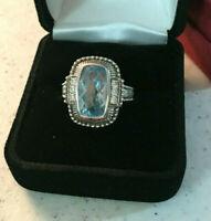 Stunning Judith Ripka Sterling Silver Blue  Bezel Set CZ Accent  Ring Size 7