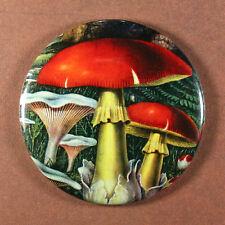 """MUSHROOM 2 - Round Fridge Magnet, Red Capped Fungus Fungi 2.25"""""""