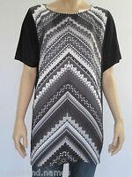 Katies Ladies Short Sleeve MM Print Tunic Top Small Medium Large 1XL 2XL Black