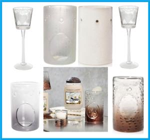 2 x CRACKLE GLASS OIL BURNER Wax Melt Warmer MOSAIC & A YANKEE CANDLE TART