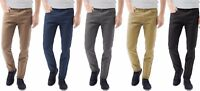Mens Chinos Designer Trousers Stretch Pants Skinny Slim Fit Jeans All Sizes Leg